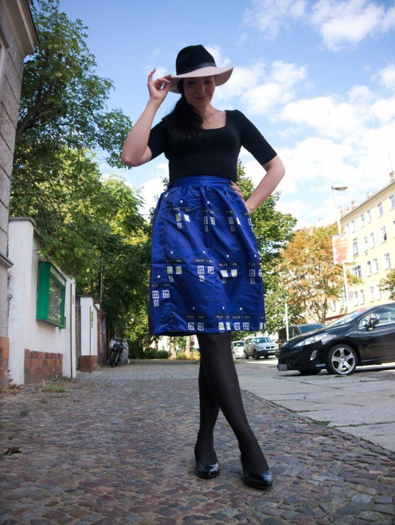 cobalt blue Tardis skirt and fedora