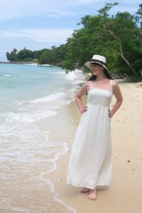 white maxi dress on Tioman Island