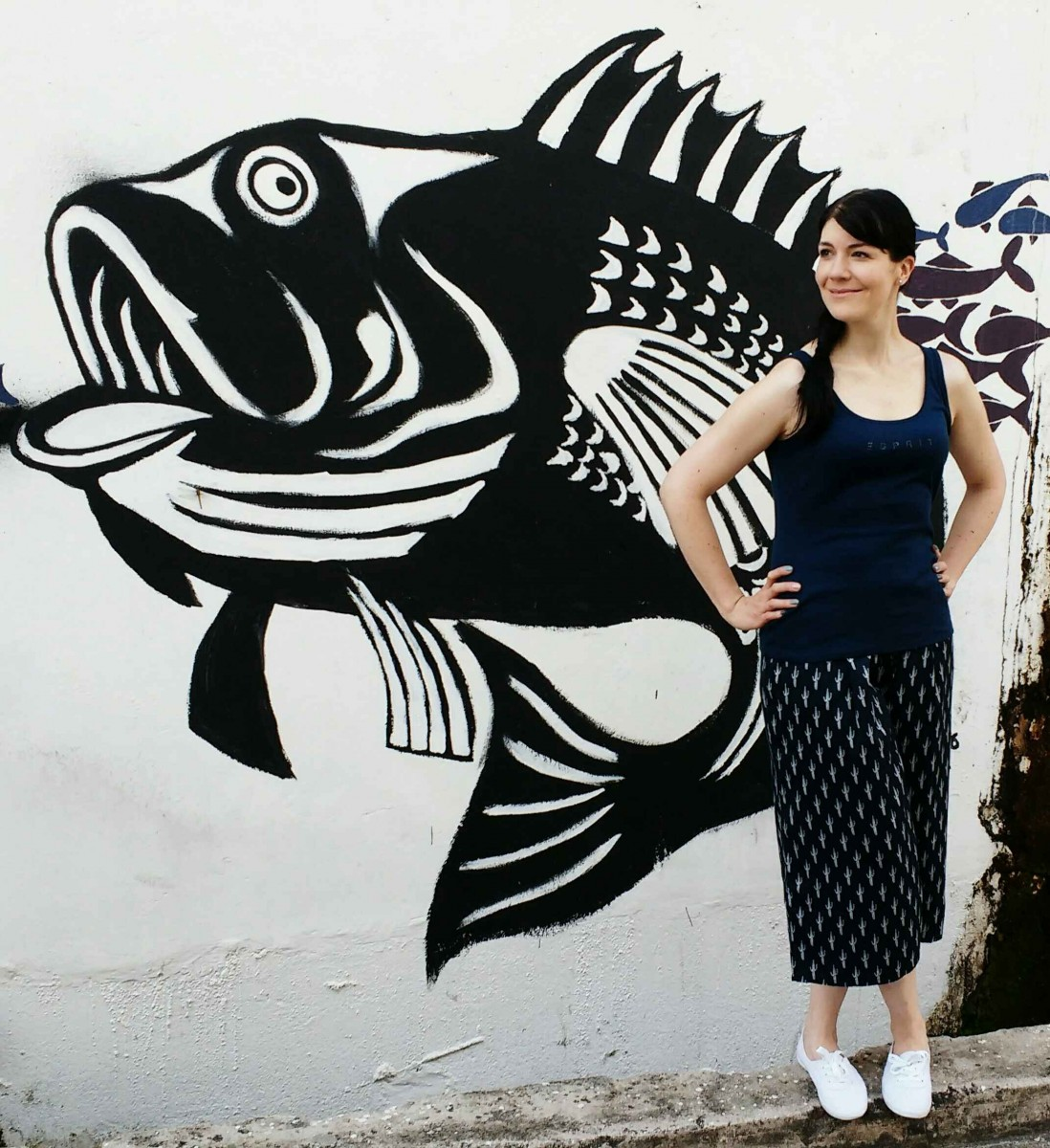 navy culotte and white sneaker casual style in Mersing