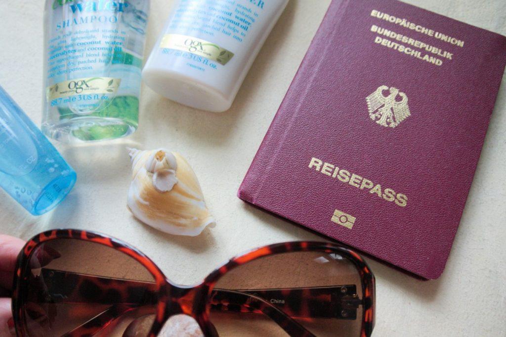 travel essentials flatlay