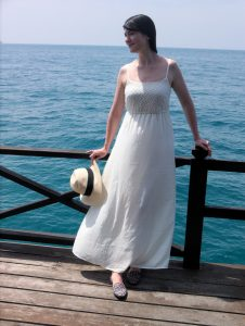vacation style white maxi dress