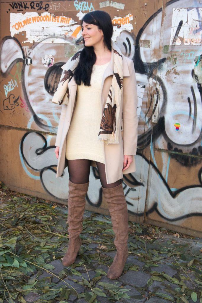 light wool coat and beige otk boots