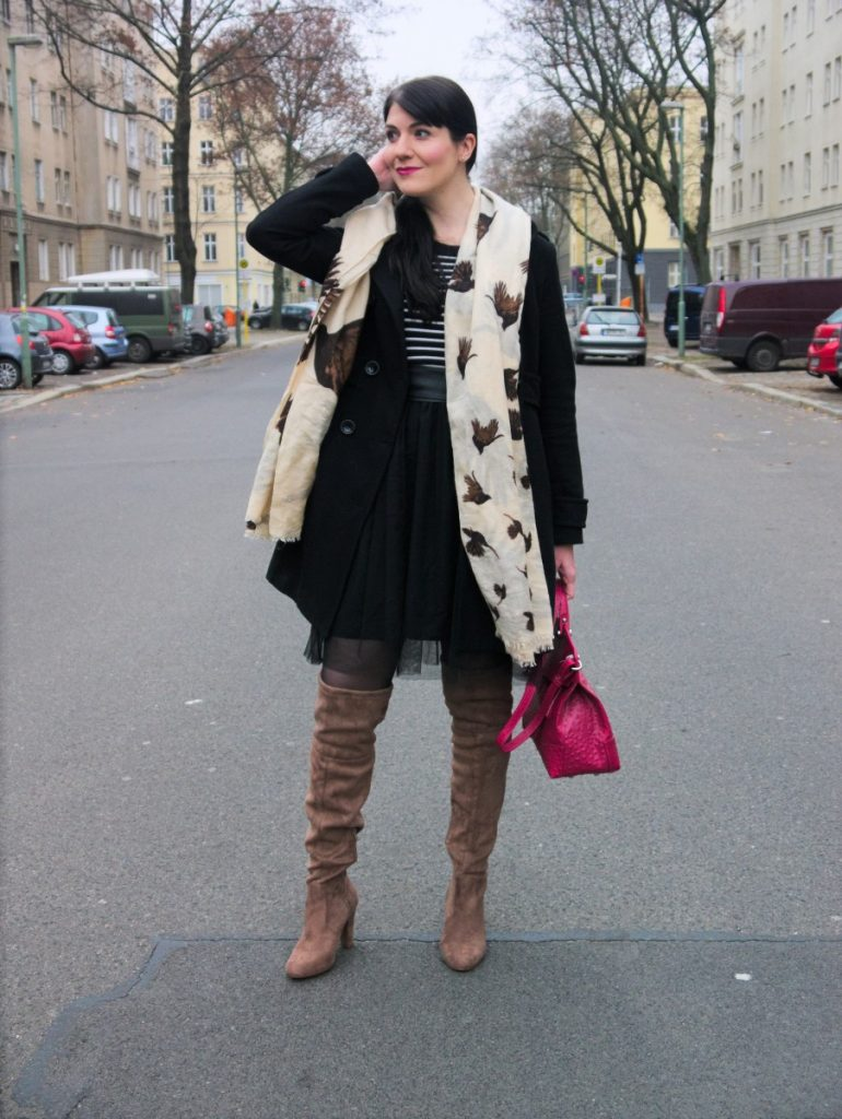 tulle dress, black coat and crow scarf outfit