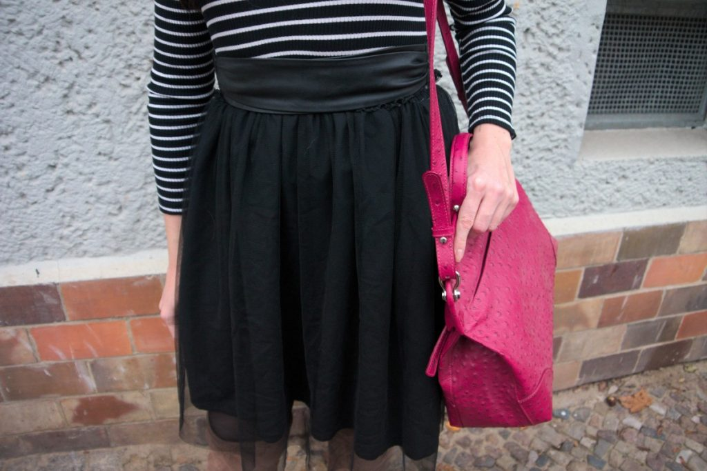 tulle dress and ostrich statement bag outfit