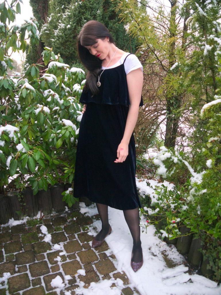 90s velvet dress and glitter flats