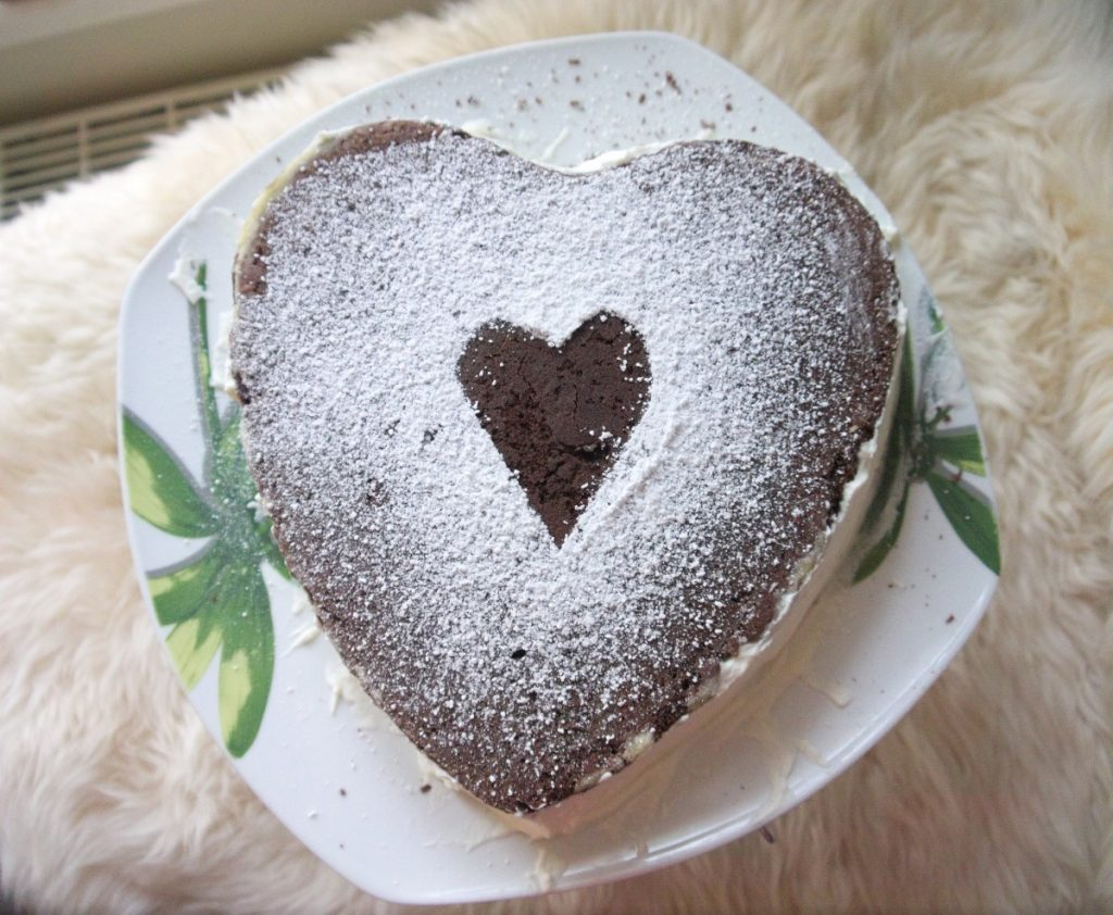Chocolate Heart Cake with Banana Cream Filling recipe
