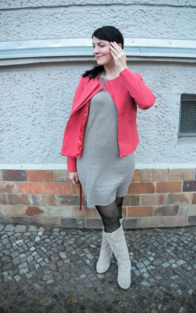 knit dress with statement stripes and coral blazer