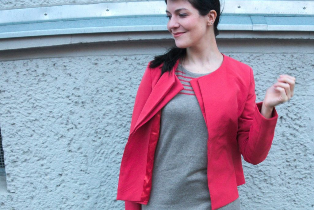 rose gold fox ring and coral blazer and stripes