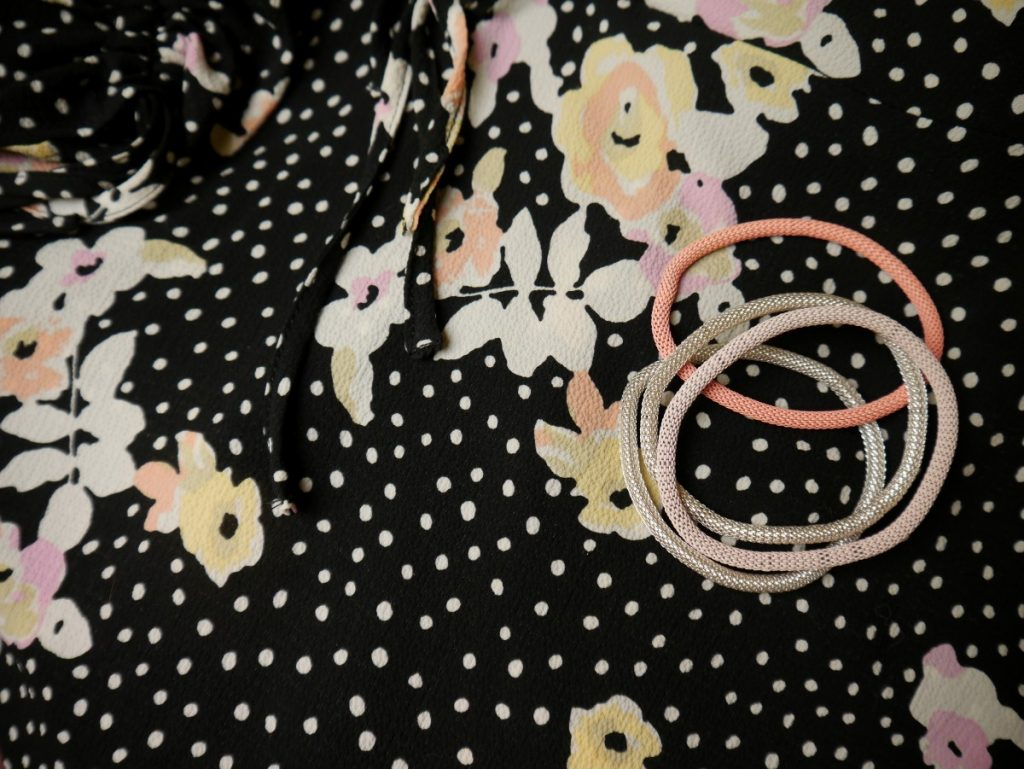 floral and polka dot fabric