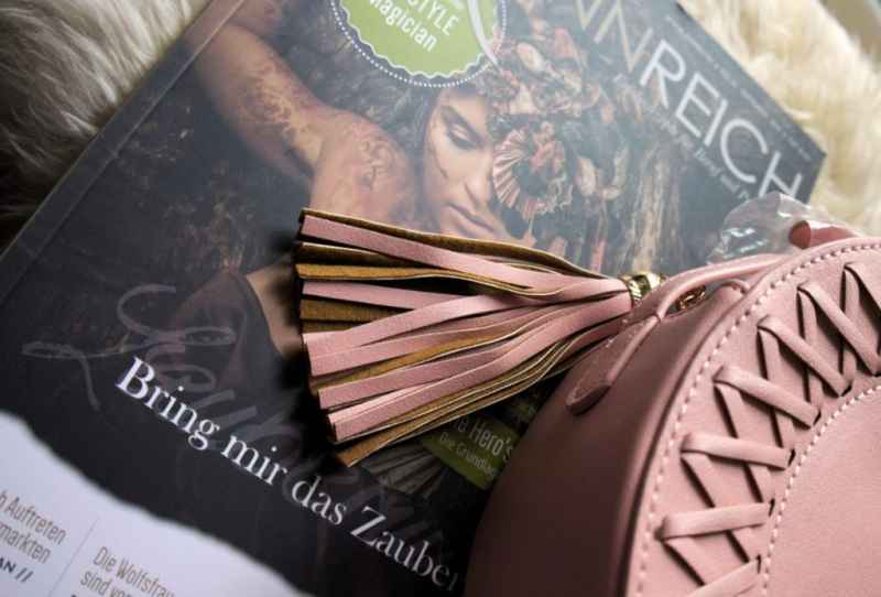 light pink tassel detail from la petite box saddle bag and a copy of sinnreich magazine
