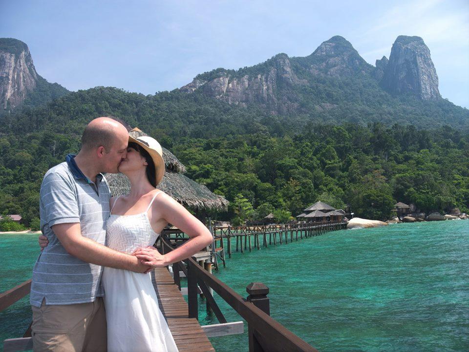 Tioman Island honeymoon couple with white dress