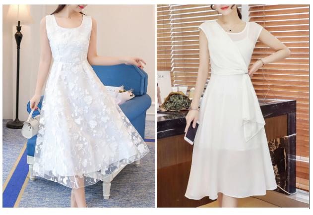 FashionMia china shop white midi dresses