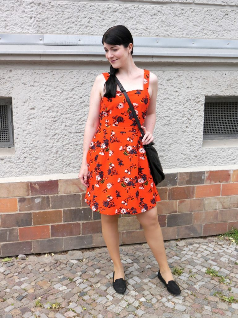bright red floral print a-line dress mint & berry