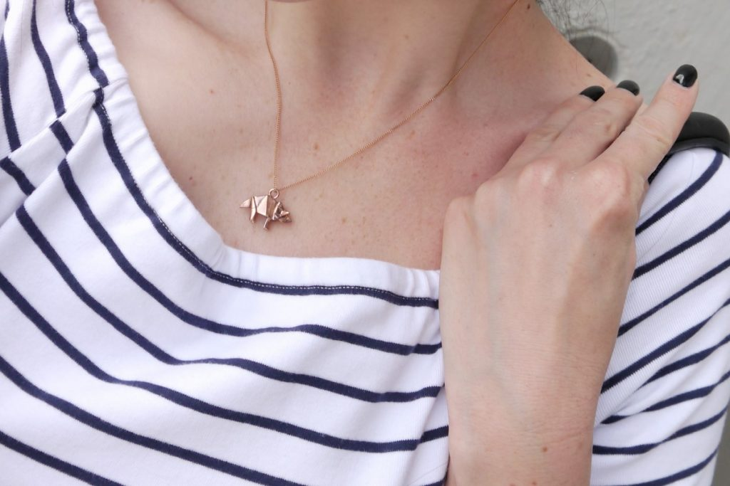 striped top and rosegold origami triceratops necklace by Origami Jewellery