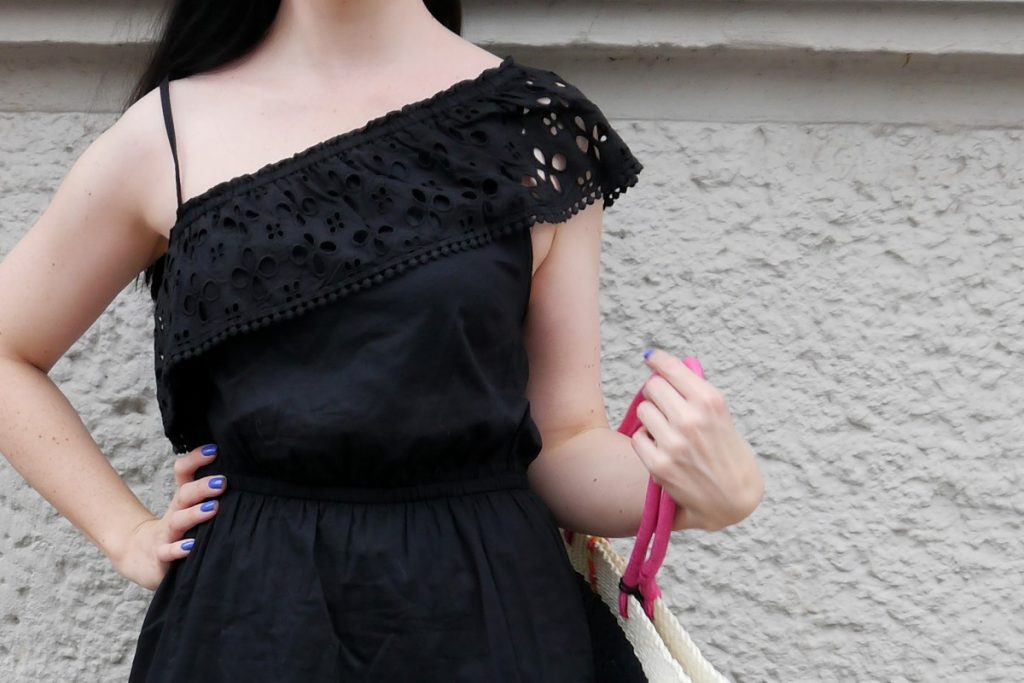one shoulder LBD with embroidery detail