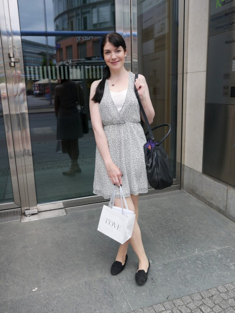 black and white waisted dress