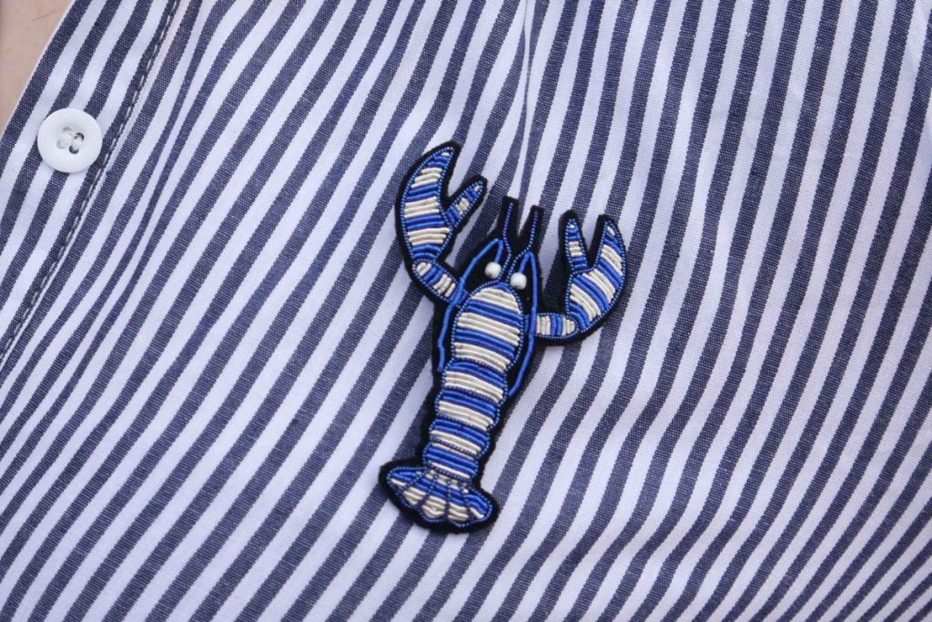 Macon & Lesquoy handmade blue lobster brooch