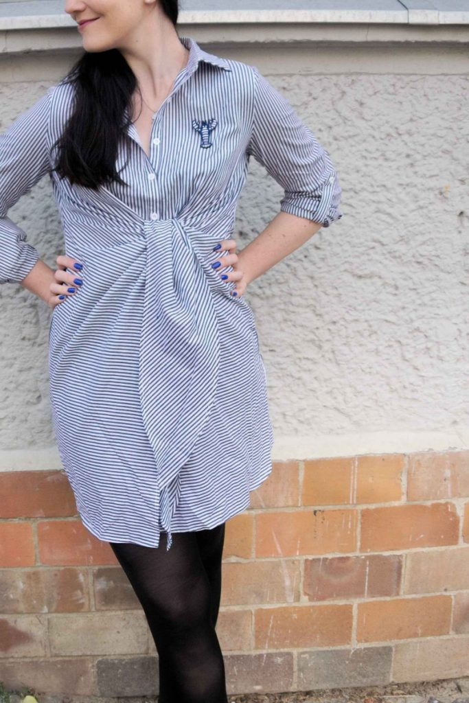Shein striped shirt dress with Macon & Lesquoy blue lobster brooch