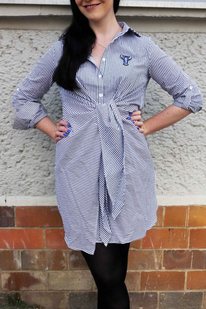Shein striped shirt dress with blue lobster brooch