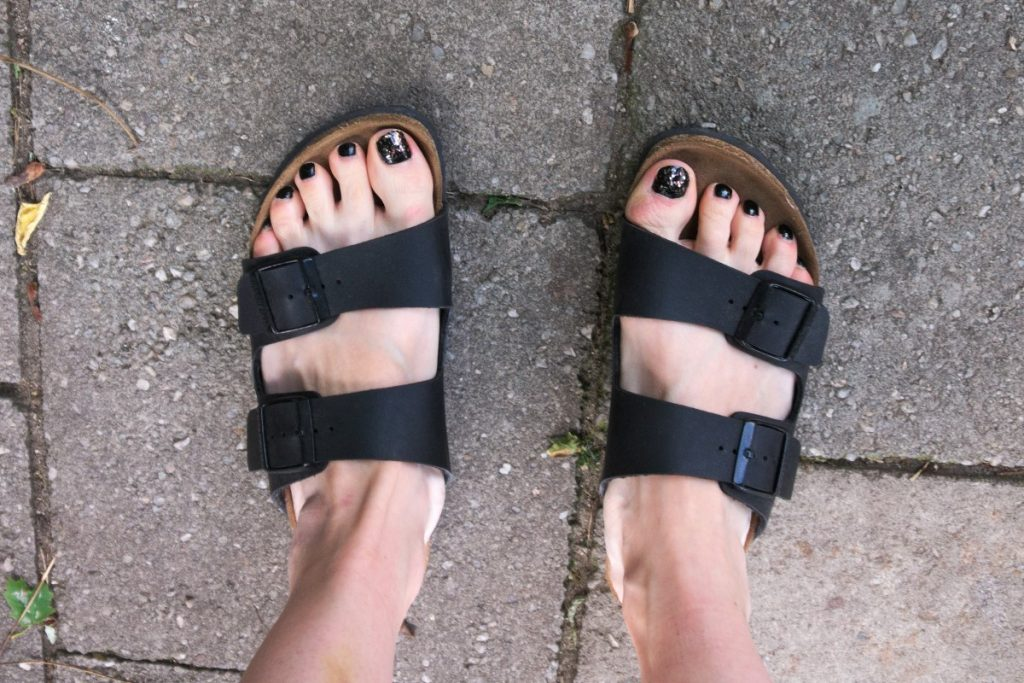 Birkenstock ARIZONA and black nail polish with glitter