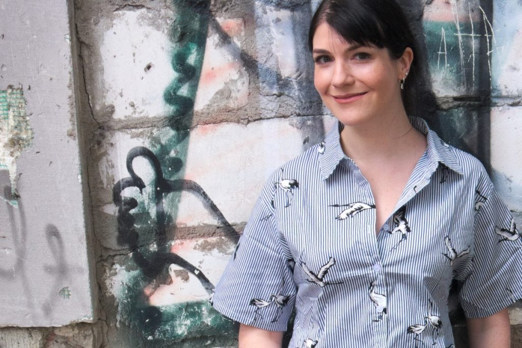 Romwe crane print blouse with stripes and street art wall