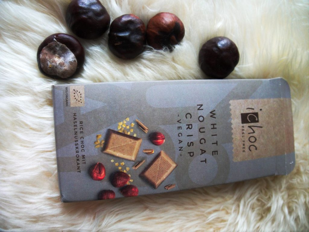 Lifestyle and Food Favorites - ichoc white nougat crisp vegan chocolate